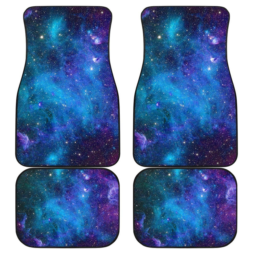 Teal Purple Stardust Galaxy Space Print Front and Back Car Floor Mats GearFrost