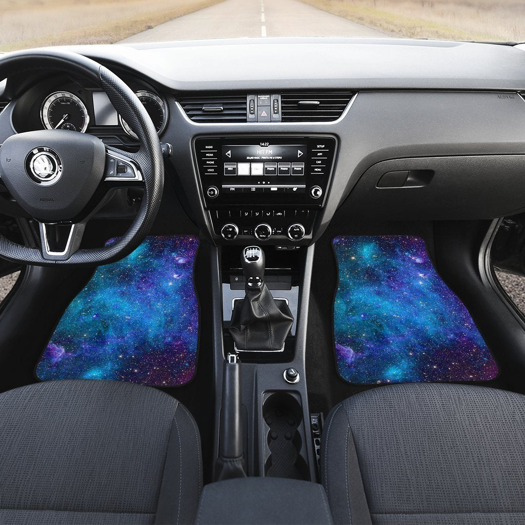 Teal Purple Stardust Galaxy Space Print Front Car Floor