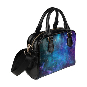 Teal Purple Stardust Galaxy Space Print Leather Shoulder Handbag GearFrost