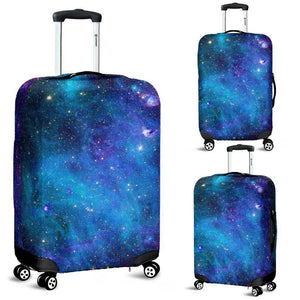 Teal Purple Stardust Galaxy Space Print Luggage Cover GearFrost