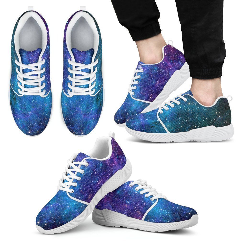 Teal Purple Stardust Galaxy Space Print Men's Athletic Shoes GearFrost
