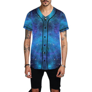 Teal Purple Stardust Galaxy Space Print Men's Baseball Jersey GearFrost