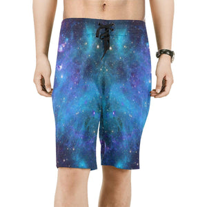 Teal Purple Stardust Galaxy Space Print Men's Board Shorts GearFrost