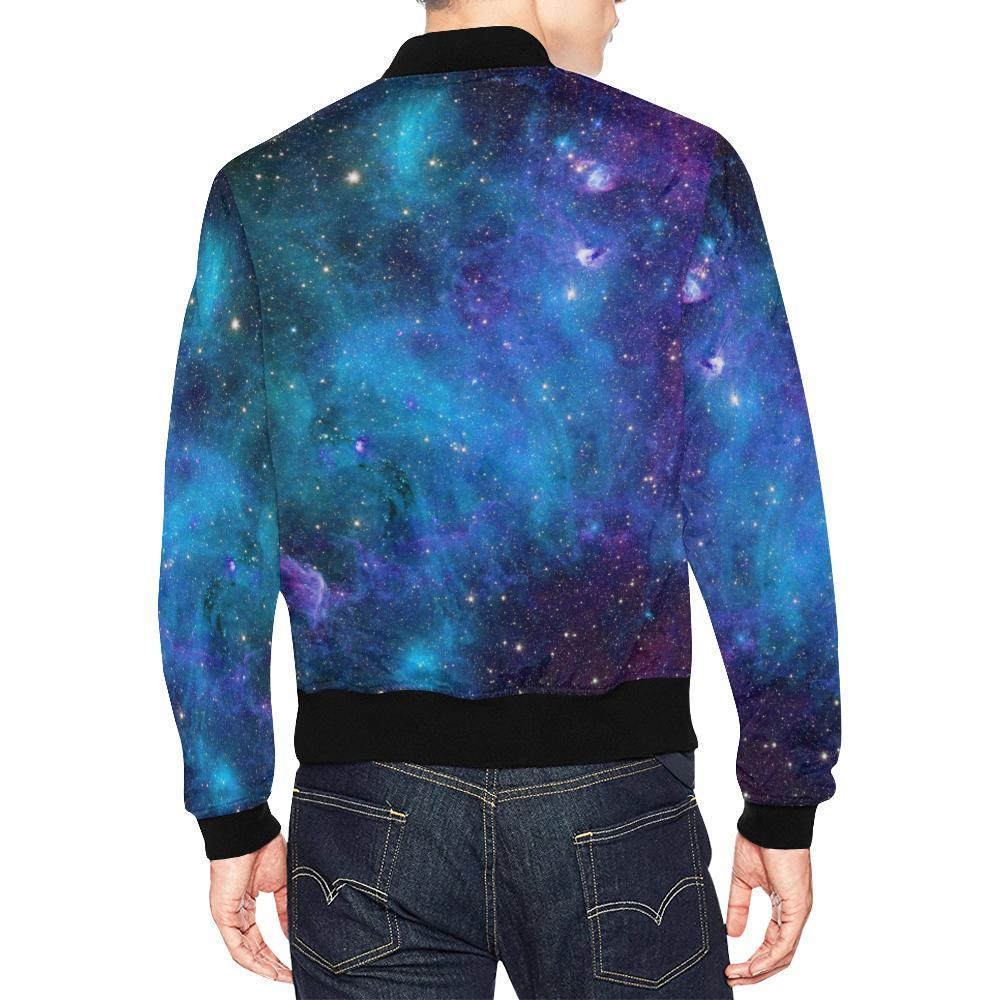 Teal Purple Stardust Galaxy Space Print Men's Bomber Jacket GearFrost