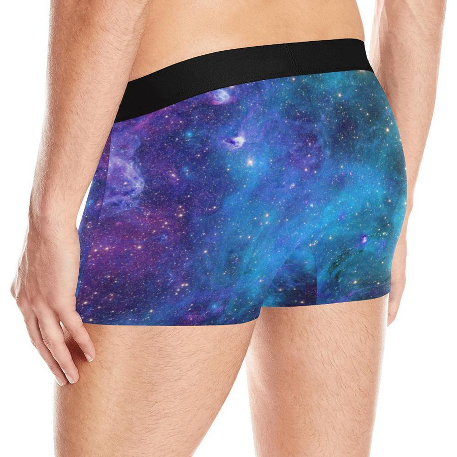 Teal Purple Stardust Galaxy Space Print Men's Boxer Briefs GearFrost