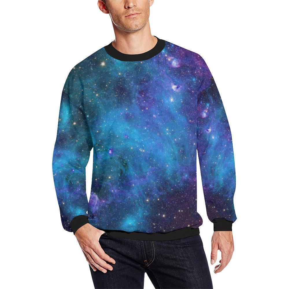 Teal Purple Stardust Galaxy Space Print Men's Crewneck Sweatshirt GearFrost