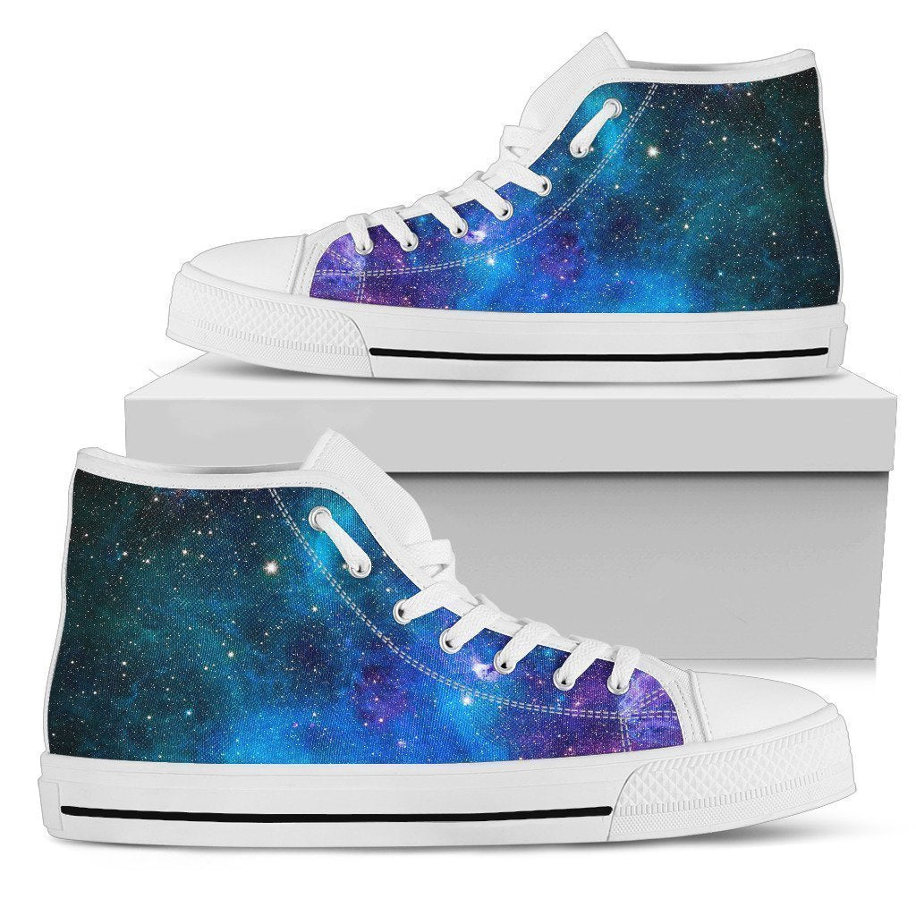 Teal Purple Stardust Galaxy Space Print Men's High Top Shoes GearFrost