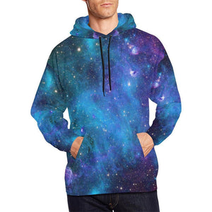 Teal Purple Stardust Galaxy Space Print Men's Pullover Hoodie GearFrost