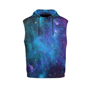 Teal Purple Stardust Galaxy Space Print Men's Sleeveless Hoodie GearFrost