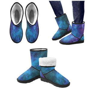 Teal Purple Stardust Galaxy Space Print Men's Snow Boots GearFrost