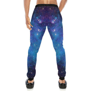 Teal Purple Stardust Galaxy Space Print Men's Sweatpants GearFrost
