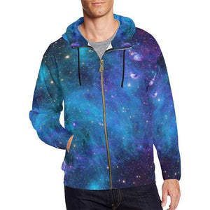 Teal Purple Stardust Galaxy Space Print Men's Zip Up Hoodie GearFrost