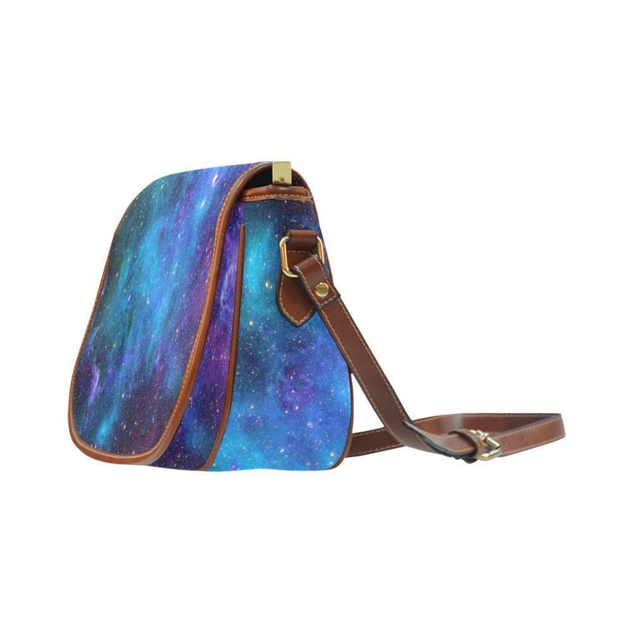 Teal Purple Stardust Galaxy Space Print Saddle Bag Crossbody Purse GearFrost