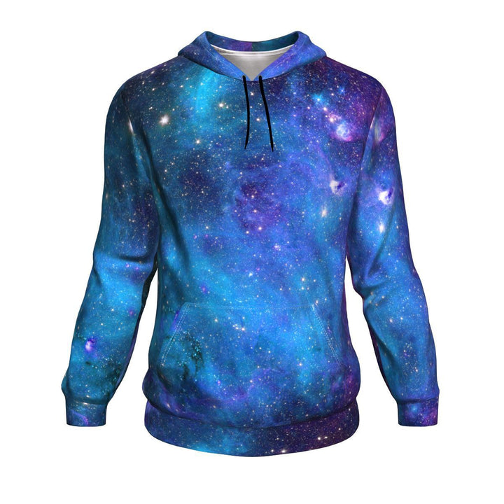 Teal Purple Stardust Galaxy Space Print Unisex Pullover Hoodie GearFrost