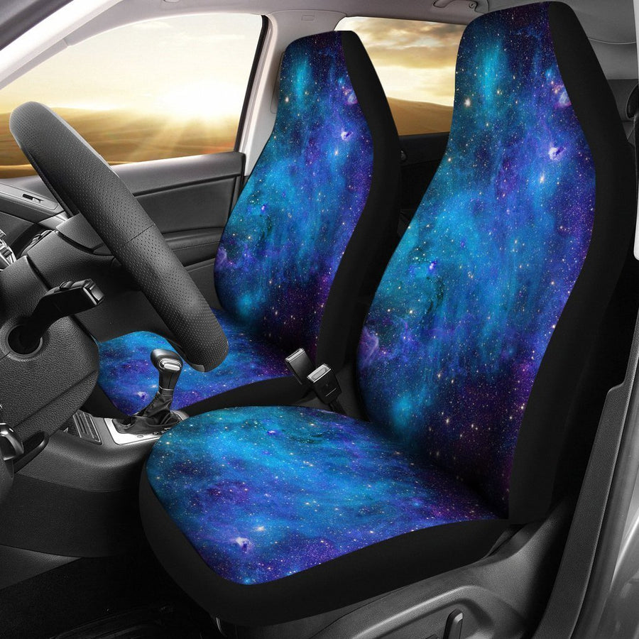 Teal Purple Stardust Galaxy Space Print Universal Fit Car Seat Covers GearFrost