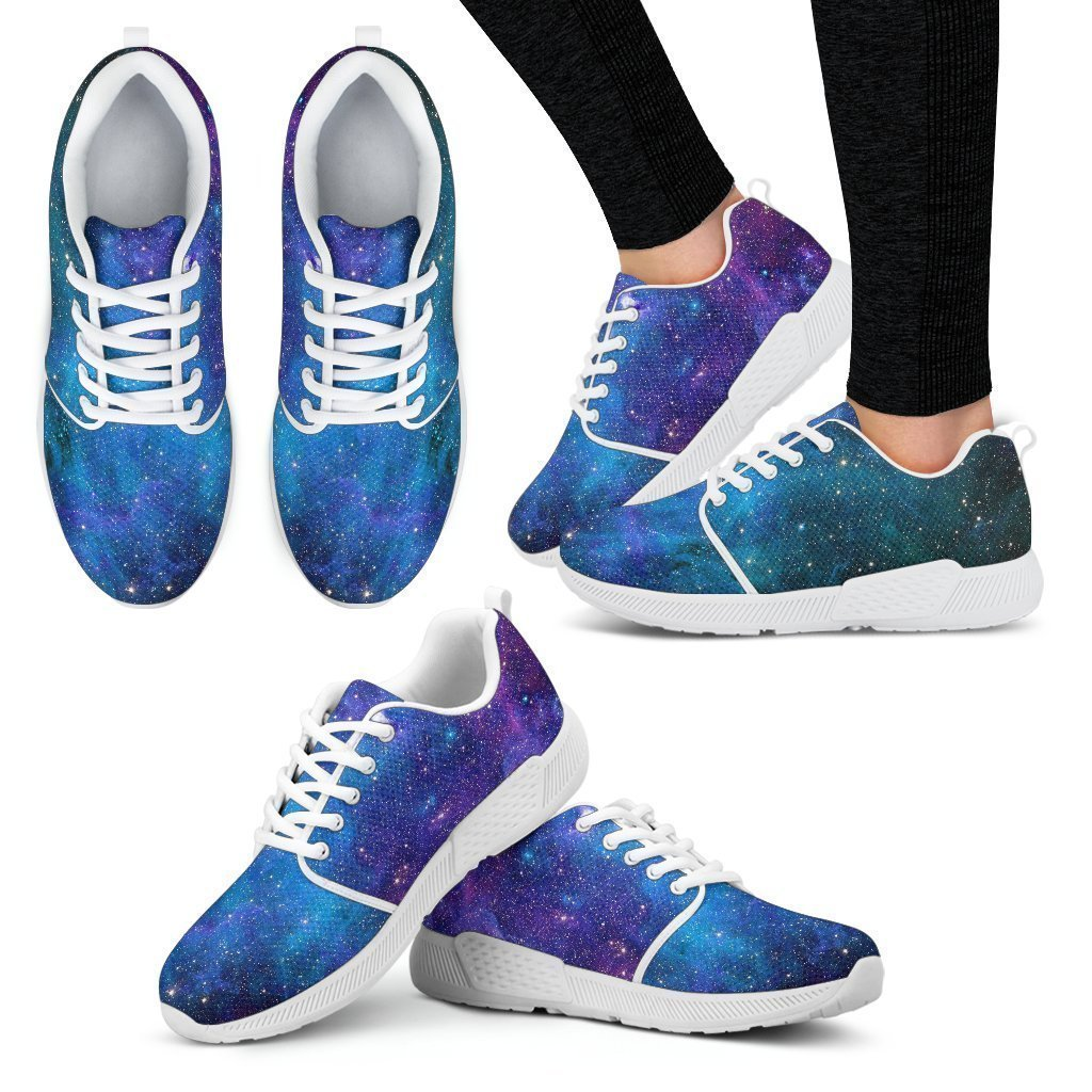 Teal Purple Stardust Galaxy Space Print Women's Athletic