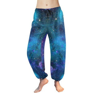 Teal Purple Stardust Galaxy Space Print Women's Harem Pants GearFrost