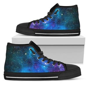 Teal Purple Stardust Galaxy Space Print Women's High Top Shoes GearFrost