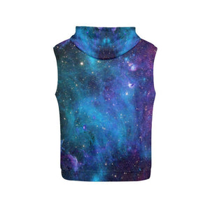 Teal Purple Stardust Galaxy Space Print Women's Sleeveless Hoodie GearFrost