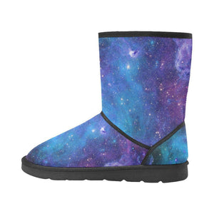 Teal Purple Stardust Galaxy Space Print Women's Snow Boots GearFrost