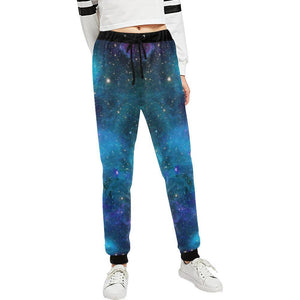 Teal Purple Stardust Galaxy Space Print Women's Sweatpants GearFrost