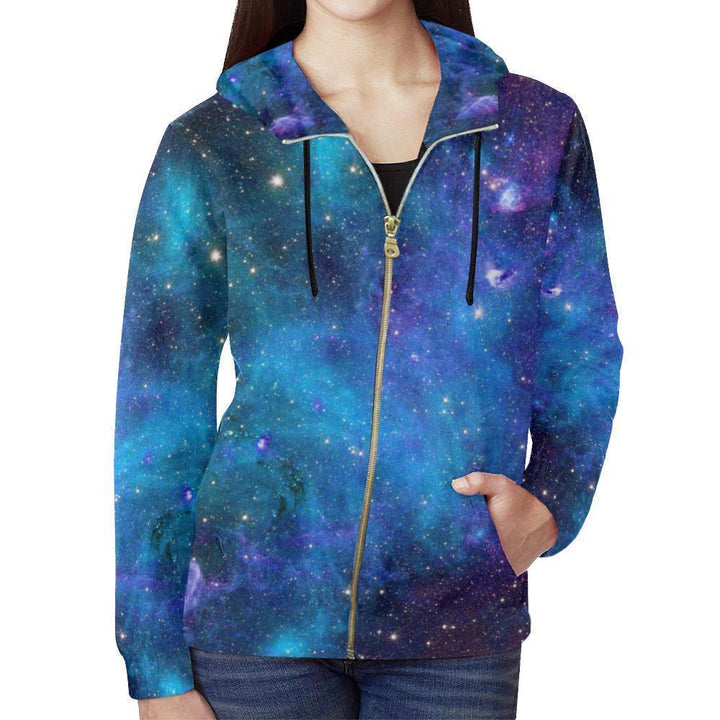 Teal Purple Stardust Galaxy Space Print Women's Zip Up Hoodie GearFrost