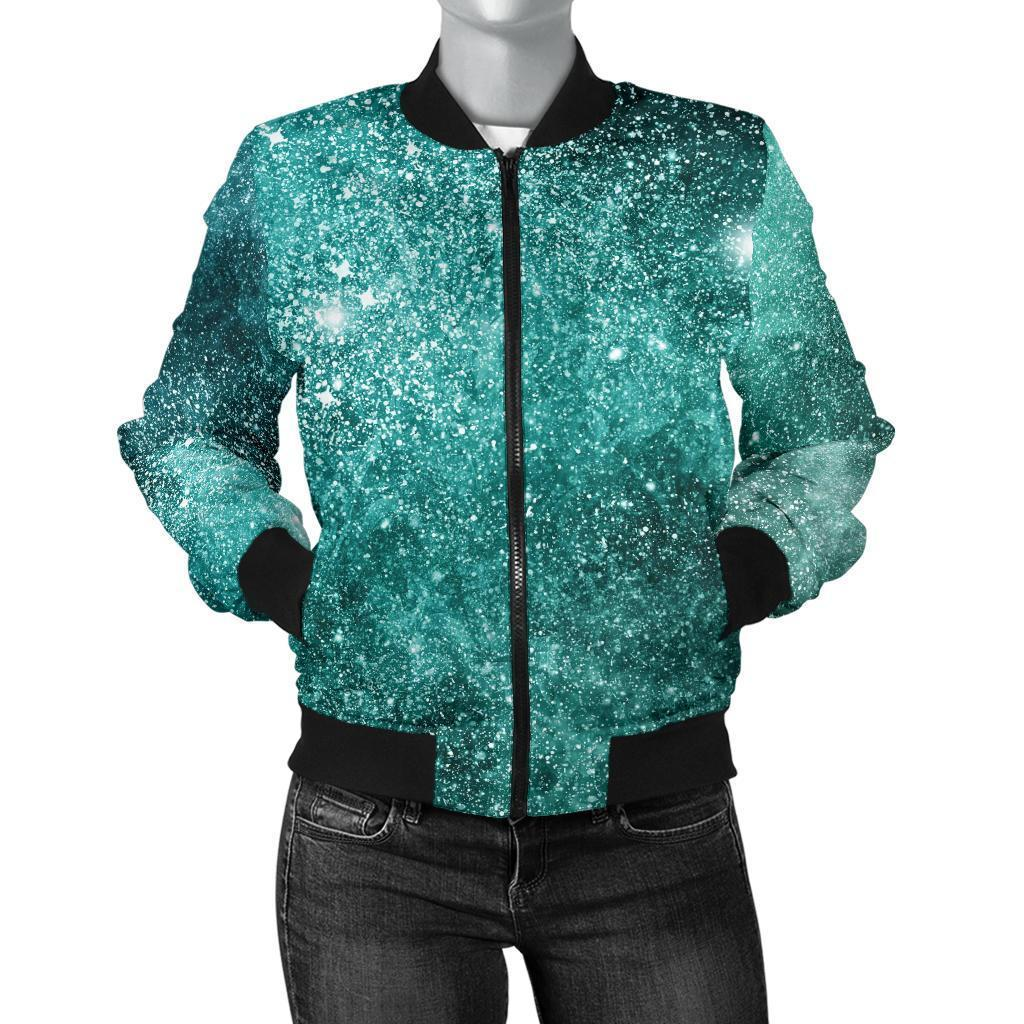 Teal Stardust Galaxy Space Print Women's Bomber Jacket