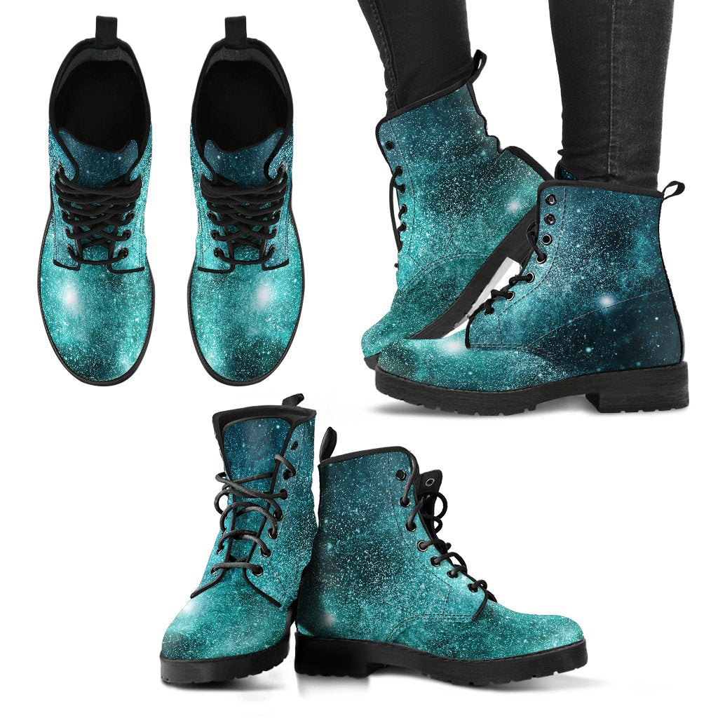 Teal Stardust Galaxy Space Print Women's Boots