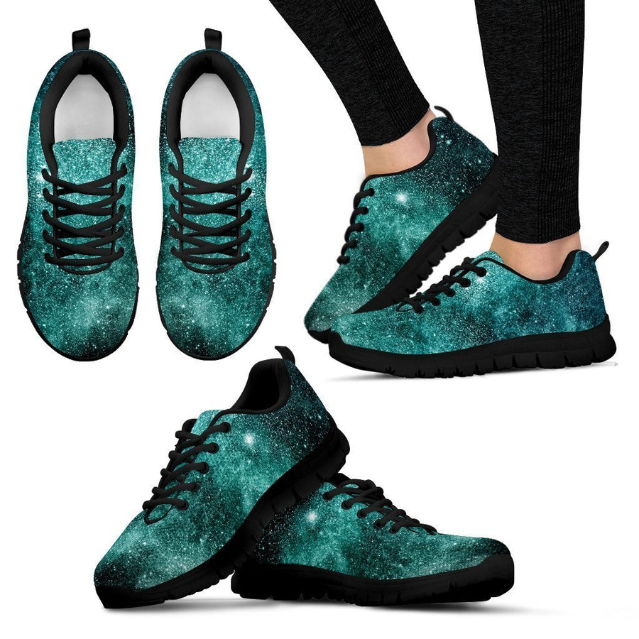 Teal Stardust Galaxy Space Print Women's Sneakers GearFrost