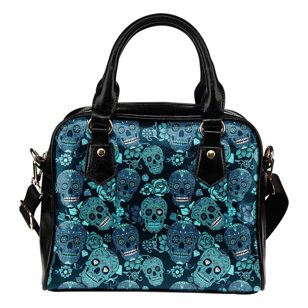 Teal Sugar Skull Flower Pattern Print Shoulder Handbag GearFrost