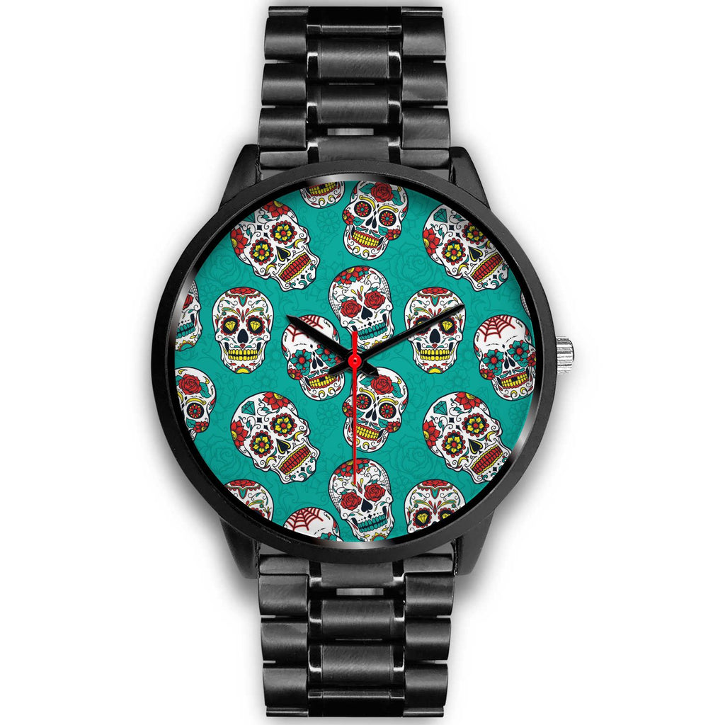 Teal Sugar Skull Pattern Print Black Watch GearFrost