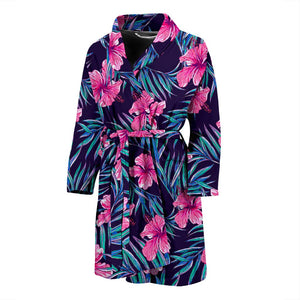 Teal Tropical Hibiscus Pattern Print Men's Bathrobe GearFrost