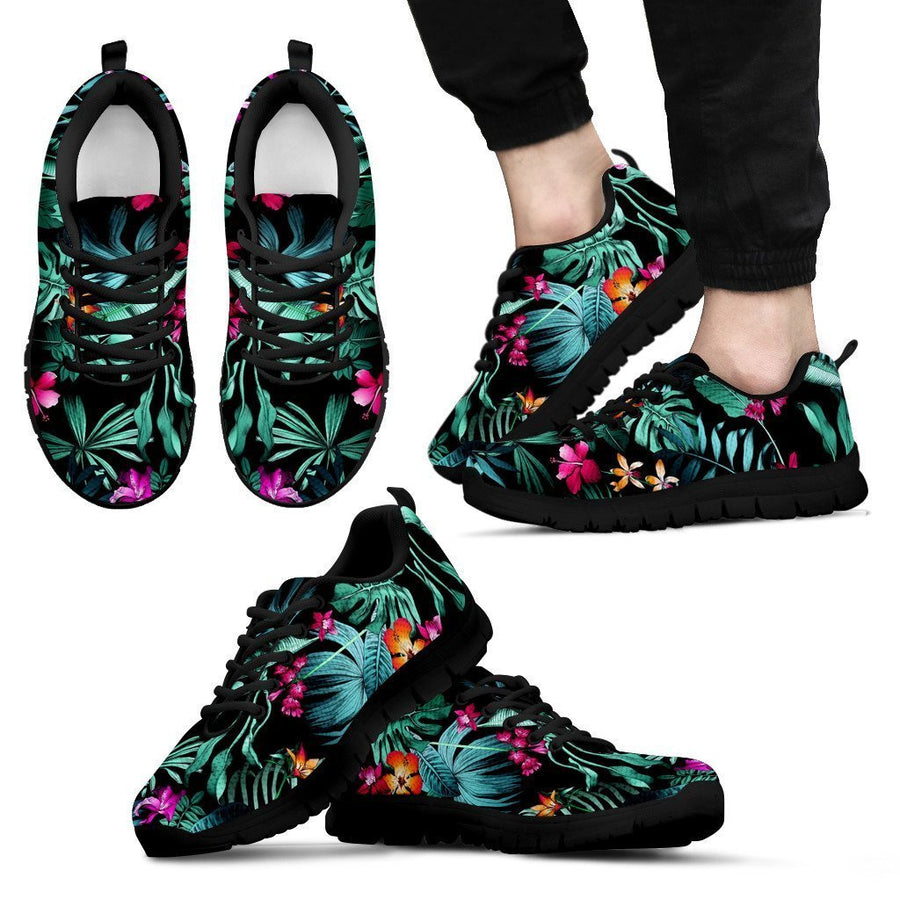 Teal Tropical Leaf Hawaii Pattern Print Men's Sneakers GearFrost