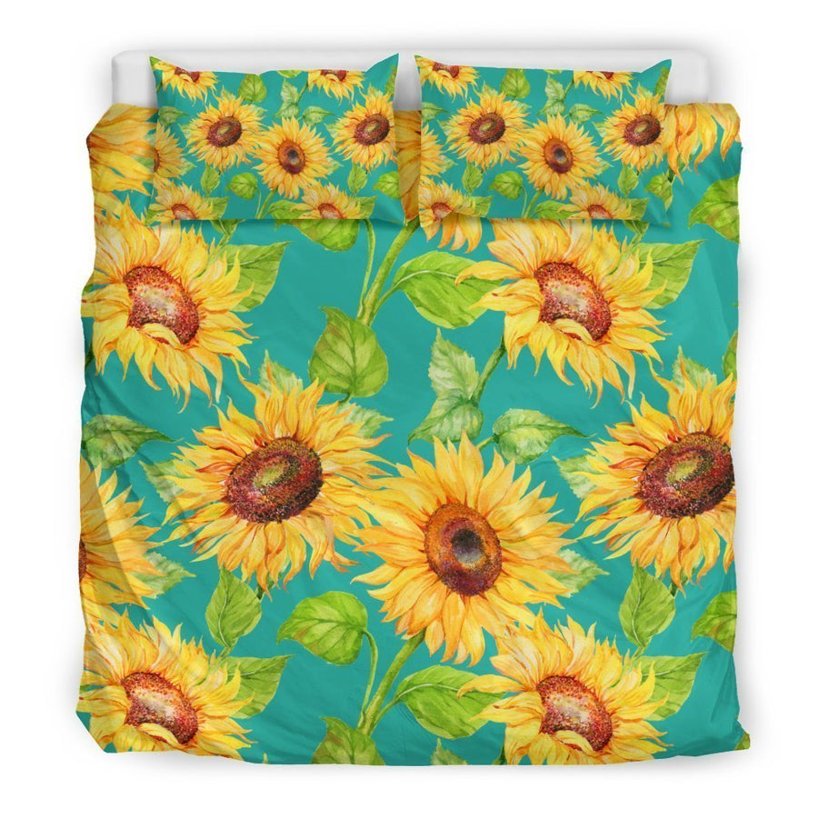 Teal Watercolor Sunflower Pattern Print Duvet Cover Bedding Set GearFrost