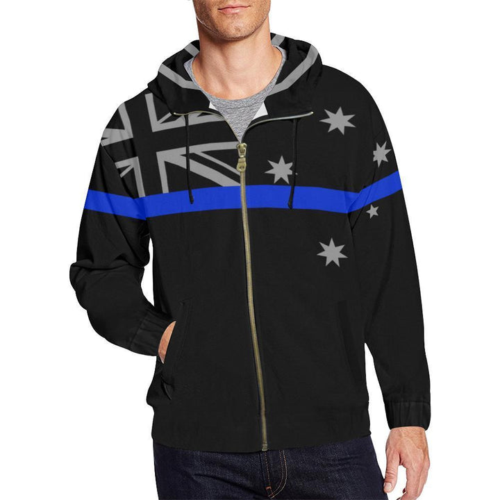 Thin Blue Line Australia Men's Zip Up Hoodie GearFrost