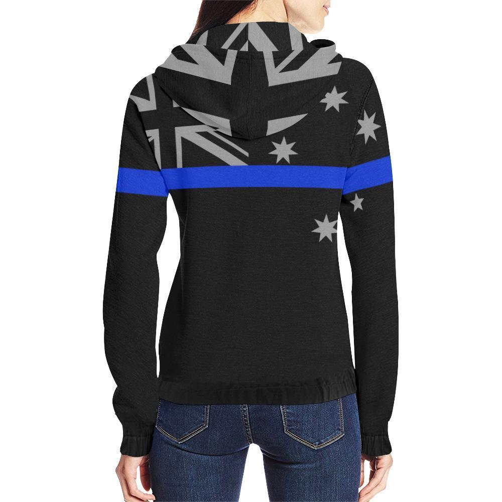 Thin Blue Line Australia Women's Zip Up Hoodie GearFrost