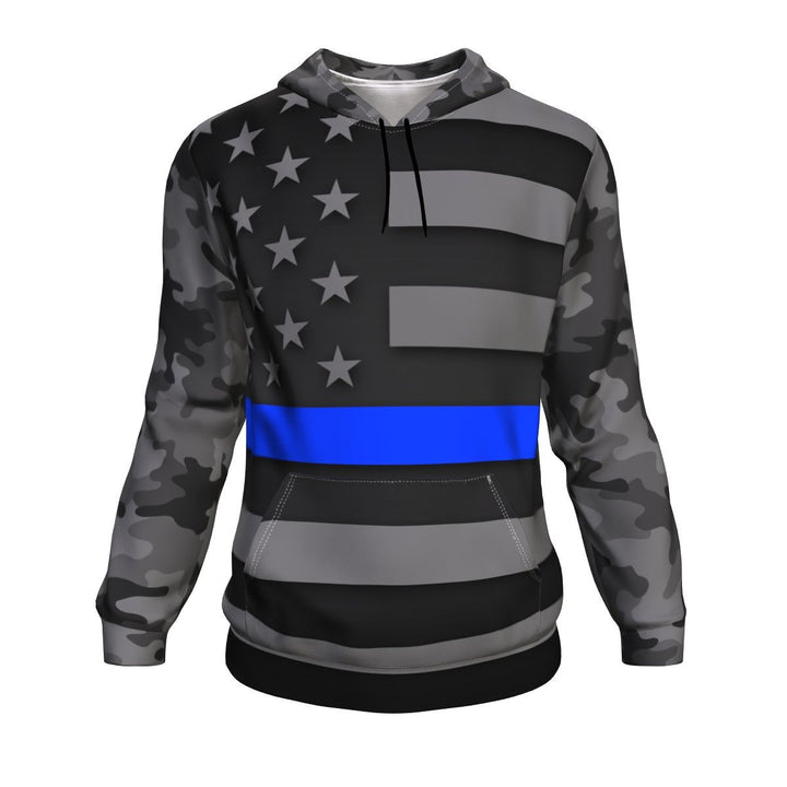 Thin Blue Line Camo Unisex Pullover Hoodie GearFrost