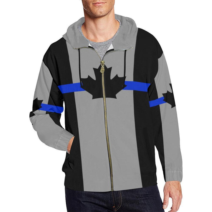 Thin Blue Line Canada Men's Zip Up Hoodie GearFrost