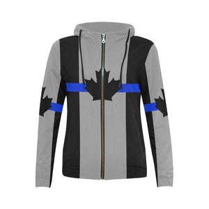 Thin Blue Line Canada Women's Zip Up Hoodie GearFrost