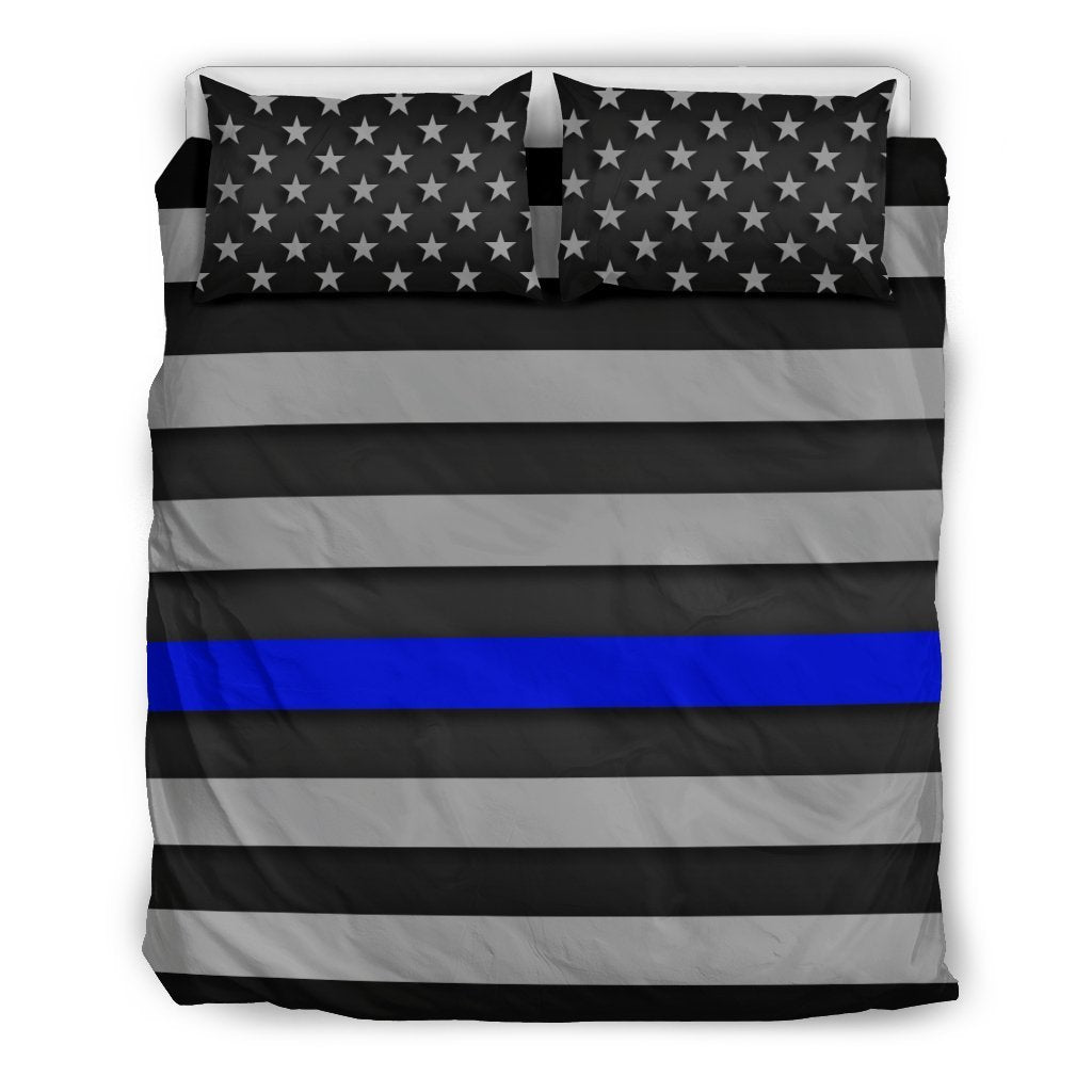 Thin Blue Line Duvet Cover Bedding Set GearFrost