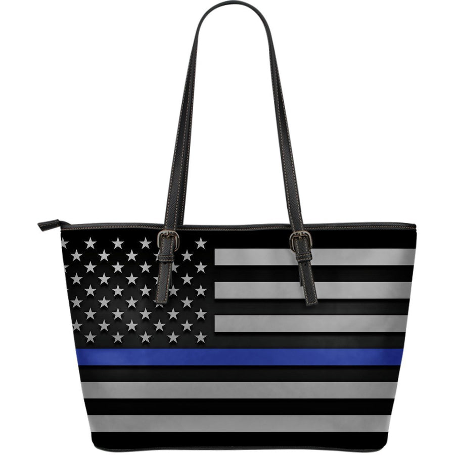 Thin Blue Line Leather Tote Bag GearFrost