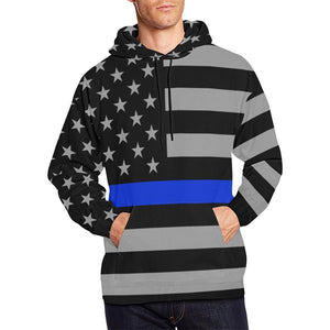 Thin Blue Line Men's Pullover Hoodie GearFrost
