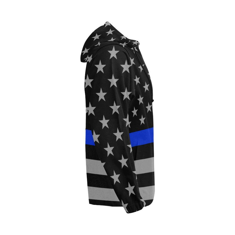 Thin Blue Line Men's Zip Up Hoodie GearFrost