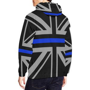 Thin Blue Line Union Jack Men's Pullover Hoodie GearFrost