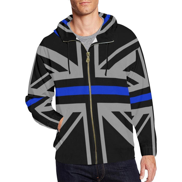 Thin Blue Line Union Jack Men's Zip Up Hoodie GearFrost