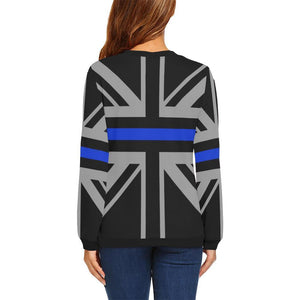 Thin Blue Line Union Jack Women's Crewneck Sweatshirt GearFrost