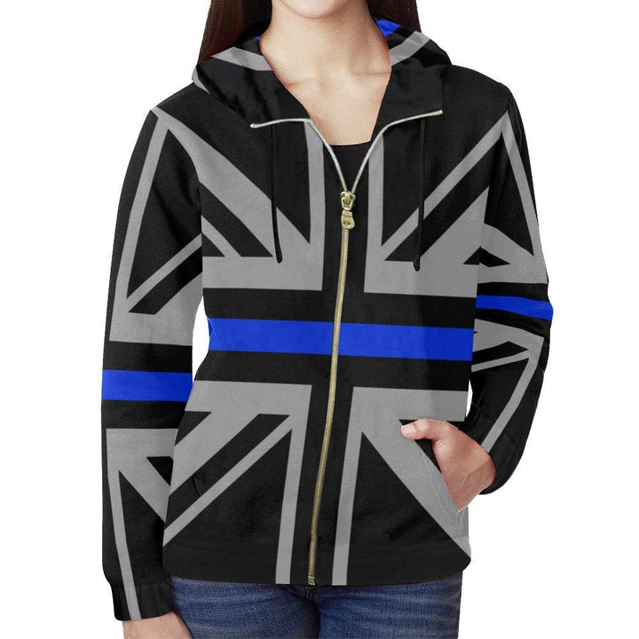 Thin Blue Line Union Jack Women's Zip Up Hoodie GearFrost