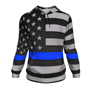 Thin Blue Line Unisex Pullover Hoodie GearFrost