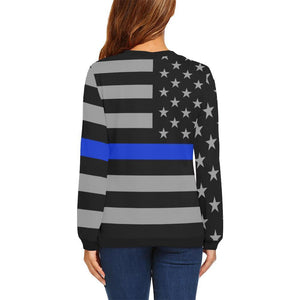 Thin Blue Line Women's Crewneck Sweatshirt GearFrost