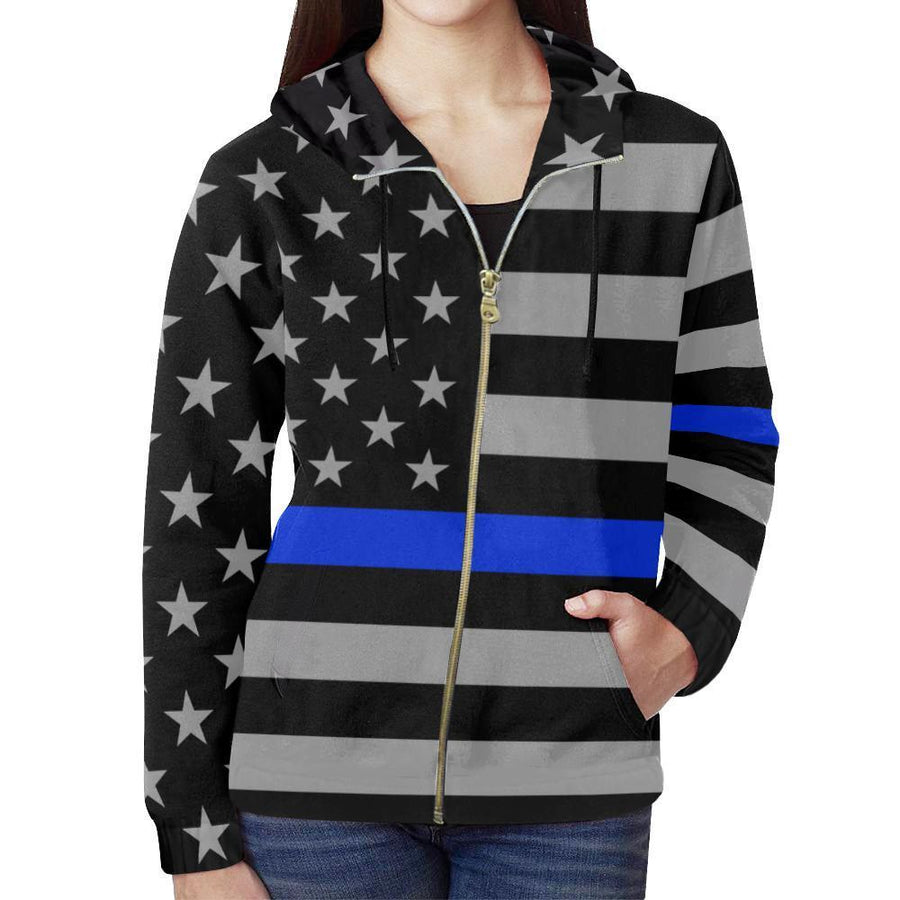 Thin Blue Line Women's Zip Up Hoodie GearFrost